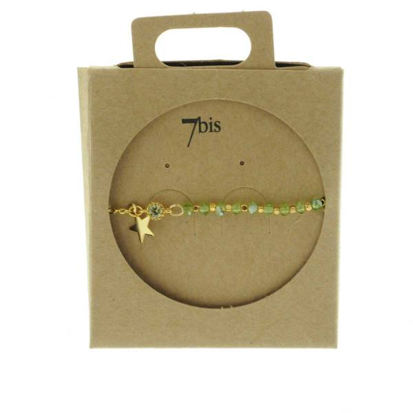 370249VER Bracelet Moitié Chaîne Doré Vert Perle De Verres Facetées Et Petite Étoile