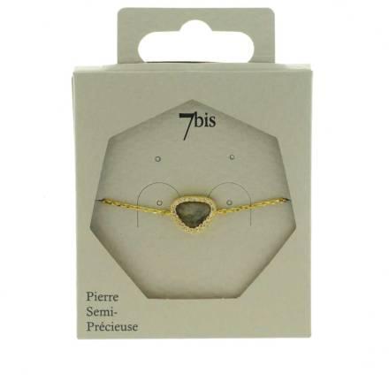 370579GRIDOR Bracelet Pierre Triangulaire Doré Gris Contour Strass Zircon
