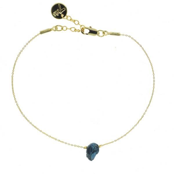 371314BLE Bracelet Perle D'eau Douce Bleu Irrégulière Unique