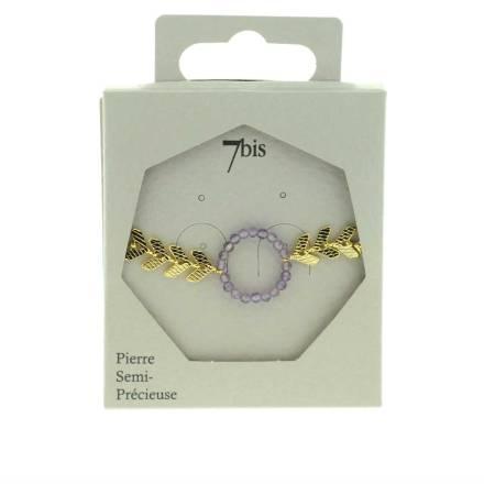371600VIO Bracelet Anneau Perles Doré Violet Flèches Gravées