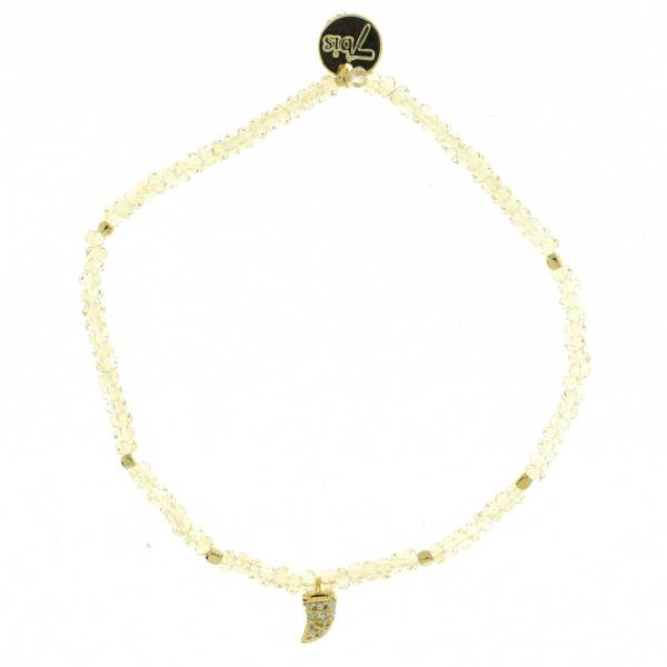 371601BEI Bracelet Élastique Beige Perles Facettes Dent De Requin Strass