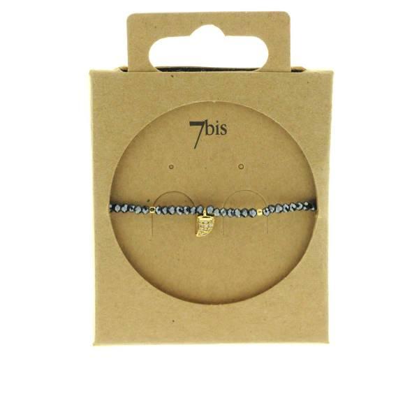 371601BLENUI Bracelet Élastique Bleu Perles Facettes Dent De Requin Strass
