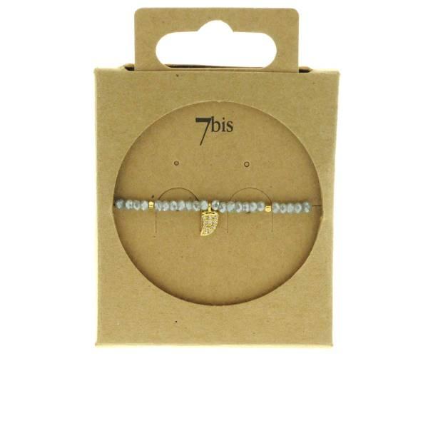 371601GRI Bracelet Élastique Gris Perles Facettes Dent De Requin Strass