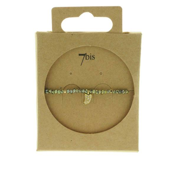 371601KAK Bracelet Élastique Kaki Perles Facettes Dent De Requin Strass
