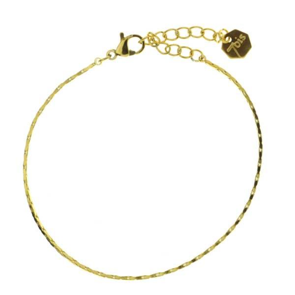 371615DOR Bracelet Chaîne Fine Doré Ajustable Acier Inoxydable