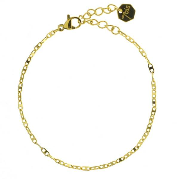 371616DOR Bracelet Chaîne Fine Doré Ajustable Acier Inoxydable
