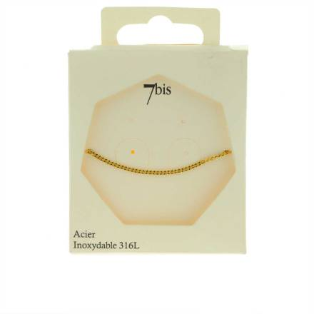 371620DOR Bracelet Chaîne Moyenne Doré Ajustable Acier Inoxydable