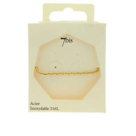 371622DOR Bracelet Chaîne Moyenne Doré Ajustable Acier Inoxydable
