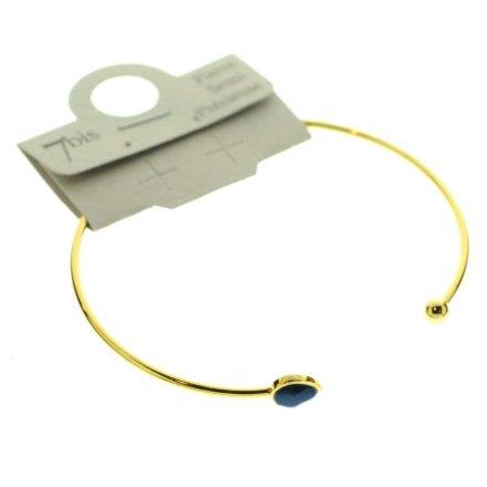 371674BLEDOR Bracelet Jonc Doré Bleu Ajustable Goutte Et Boule
