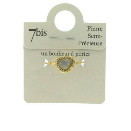 870579GRIDOR Bague Pierre Triangulaire Doré Gris Contour Strass Zircon