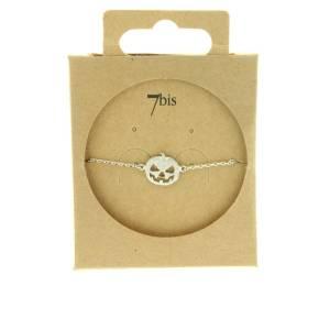 370073ARG Bracelet Citrouille Argenté Tête Halloween