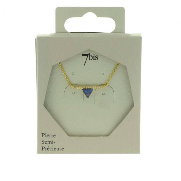 170583BLEDOR Collier Triangle Et Barre Doré Bleu Strass Zircon
