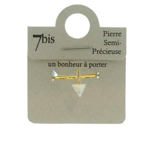 870583BLADOR Bague Triangle Et Barre Doré Blanc Strass Zircon