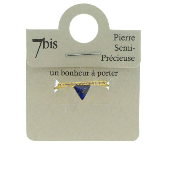 870583BLEDOR Bague Triangle Et Barre Doré Bleu Strass Zircon