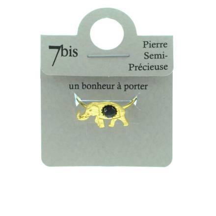 870766NOIDOR Bague Éléphant Doré Noir Howlite Pierre Semi-précieuse