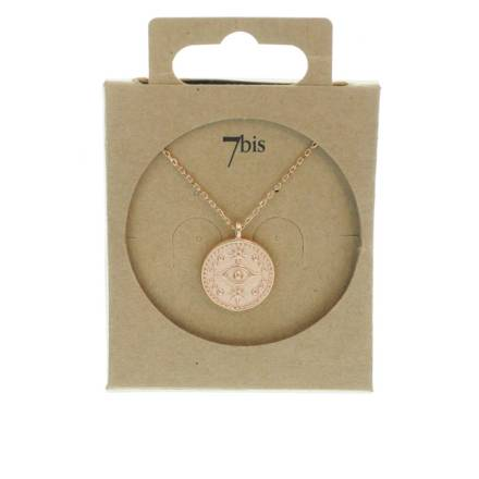 171525DORROS Collier Medaille Œil Doré Rosé Long Laiton