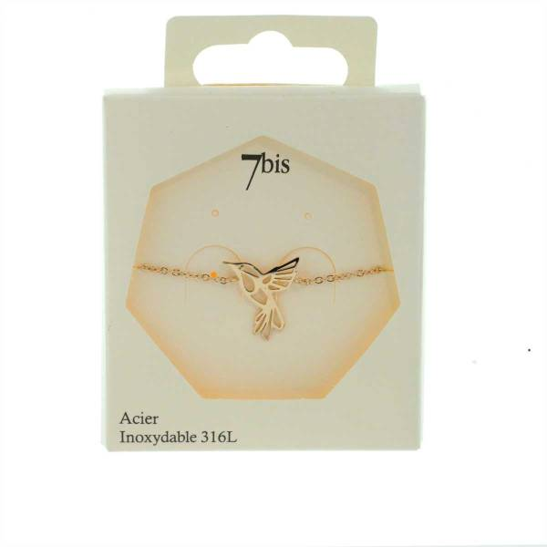371298DORROSINX Bracelet Colibri Doré Rosé Acier Inoxydable Poétique