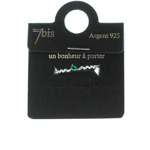 871473ARGEME13 Bague Strass Goutte Émeraude Fine Ziagzag Argent 925