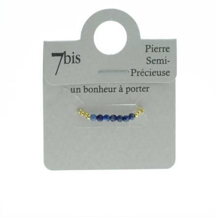 871483BLE Bague Perles Doré Bleu Élastique Laiton Doré