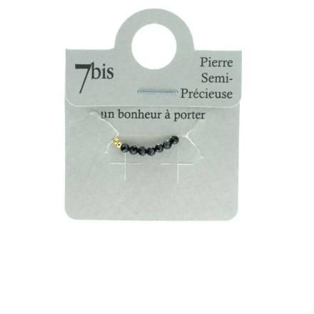 871483NOI Bague Perles Doré Noir Élastique Laiton Doré