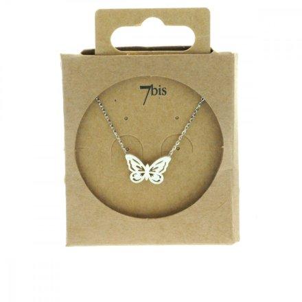 138720ARG Collier Papillon Argenté Reperçé Romantique
