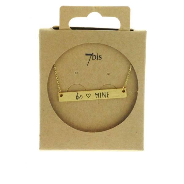 170081DOR Collier Be Mine Doré Rectangle Plaque Gravée