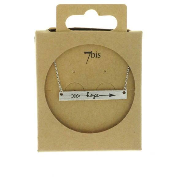 170554ARG Collier Hope Argenté Flèche Plaque Gravée