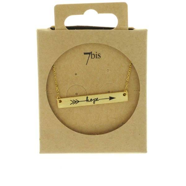 170554DOR Collier Hope Doré Flèche Plaque Gravée