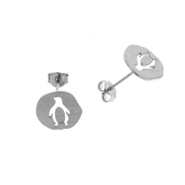 237319ARG Boucles D'oreilles Pingouin Argent Medaillon Médaille