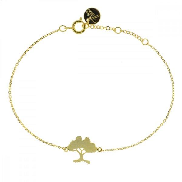 337147DOR Bracelet Arbre Doré Délicat Laiton