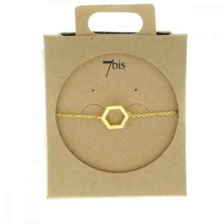 337322DOR Bracelet Hexagone Doré Reperçé Géométrique