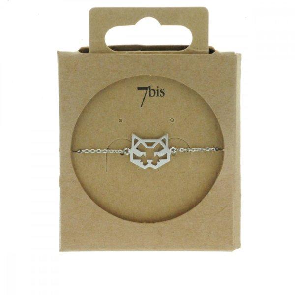 337549ARG Bracelet Chat Argenté Tete Géométrique