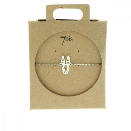 337697ARG Bracelet Lapin Tête-animal Argenté Géométrique