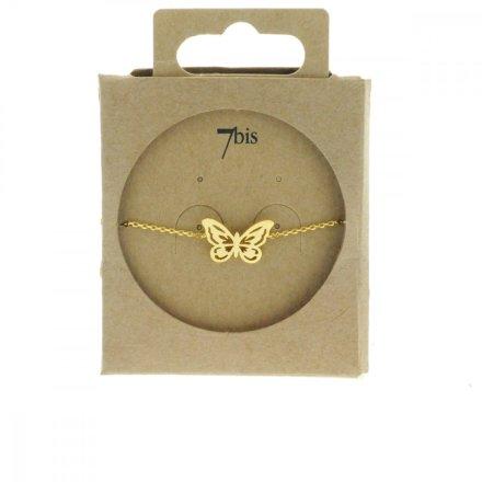 338720DOR Bracelet Papillon Doré Reperçé Romantique