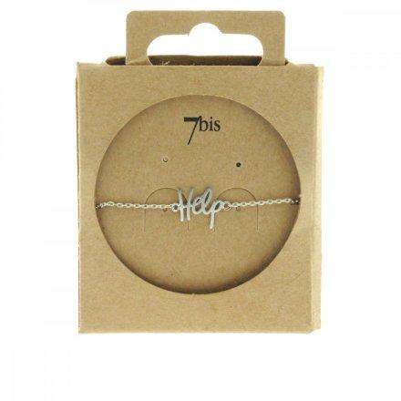 338901ARG Bracelet Help Argenté Plaque Gravé Message