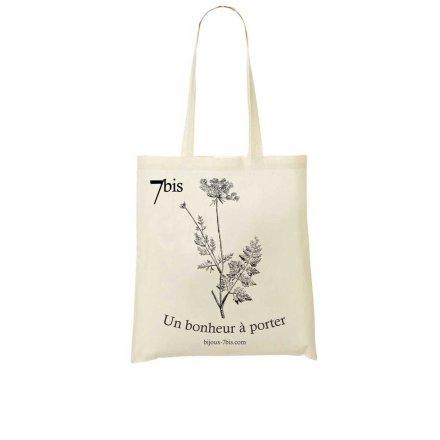 671570 Sac Toile Dessin De Fleur Blanc Cassé Carotte Sauvage Fermeture
