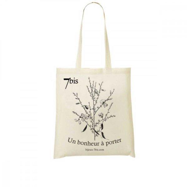 671572 Sac Toile Dessin De Fleur Blanc Cassé Genêt À Balais Fermeture