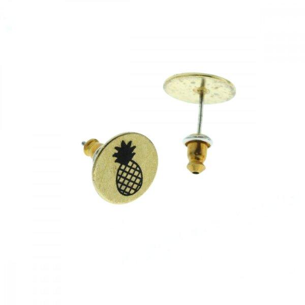 270549DOR Boucles D'oreilles Ananas Doré Médaille Imprimé