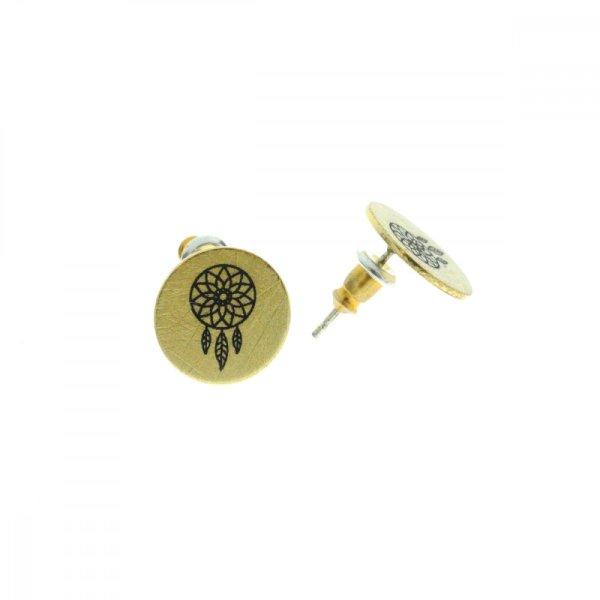 270551DOR Boucles D'oreilles Dreamcatcher Doré Médaille Imprimé