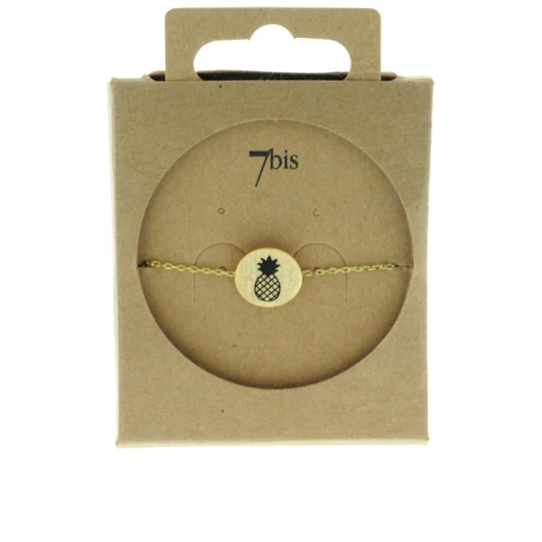 370549DOR Bracelet Ananas Doré Médaille Imprimé