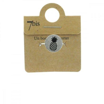 870549ARG Bague Ananas Argenté Médaille Imprimé