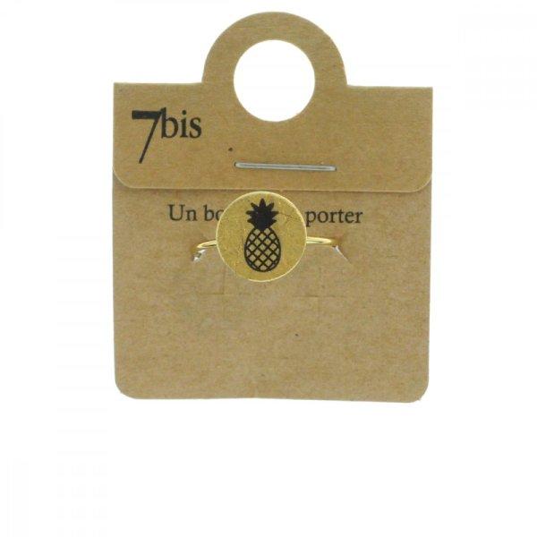 870549DOR Bague Ananas Doré Médaille Imprimé