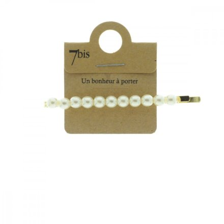 670614DOR Barrette Perles Or Crème Ligne Pince