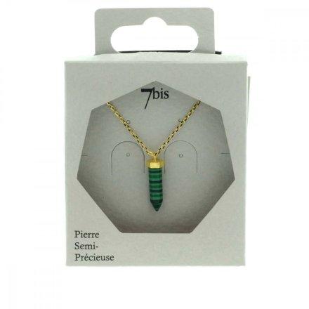 172029VER Collier Pendentif Pointe Pierre Semi-précieuse Verte