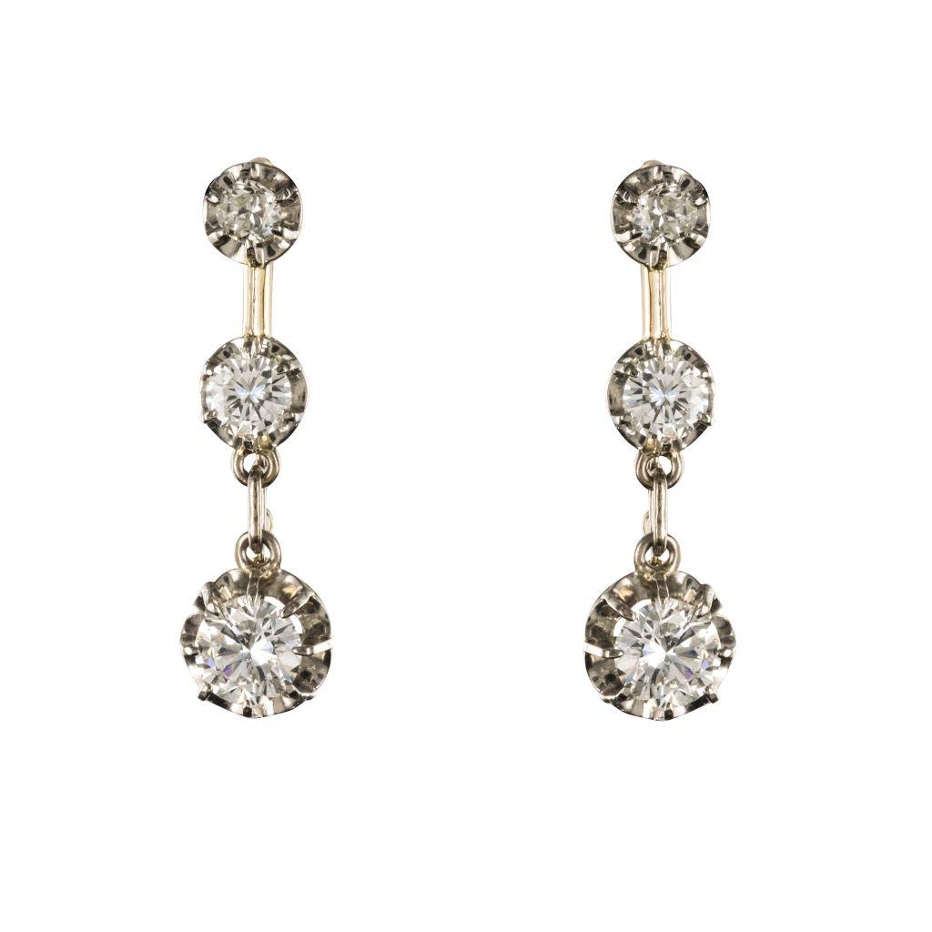boucles d oreilles trembleuses diamants 19eme siecle