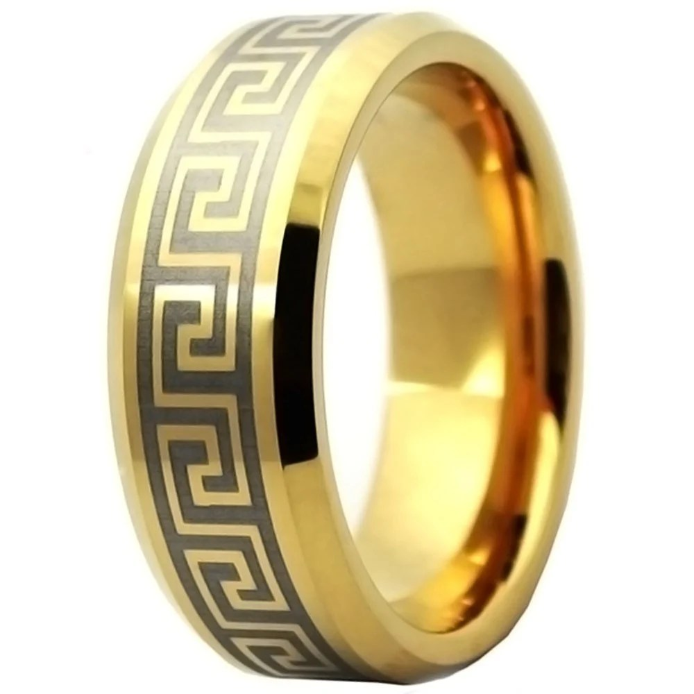 Mens Gold Plated Greek Key Tungsten Personalised Wedding