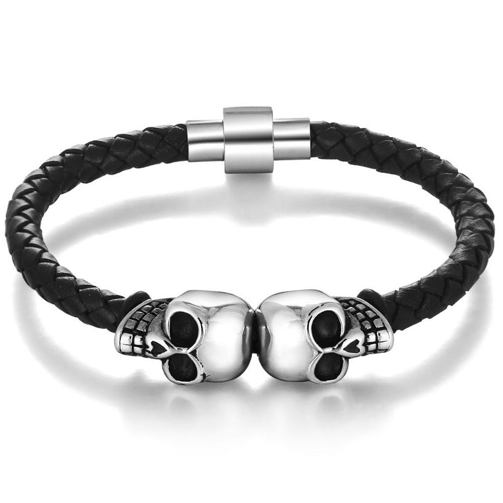 3ff961181b2 Bracelet Homme Cuir Tresse Tete De Mort Acier