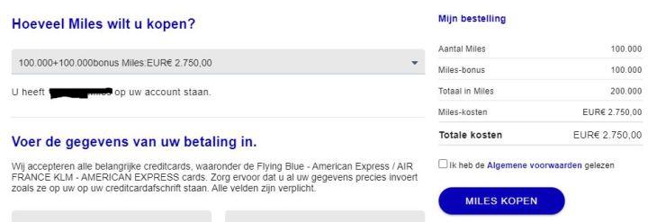 Flying Blue miles kopen