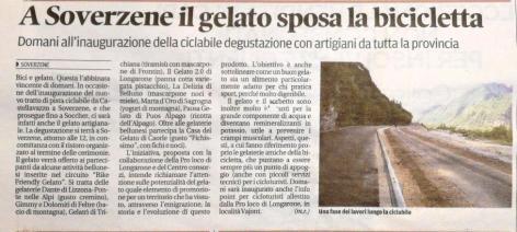 Articolo sul Corriere delle Alpi