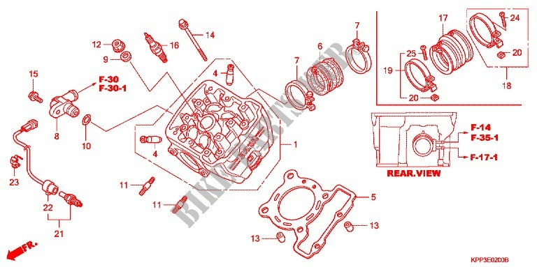 Cylinder Head For Honda Cbr 150 M Red